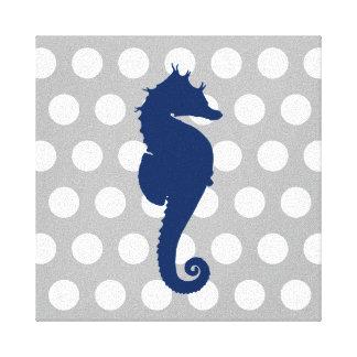 Marine-Blau-Seepferd-graue und weiße Polka-Punkte Leinwanddruck