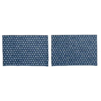 Marine-Blau Shibori geometrischer Tessellation Kissenbezug