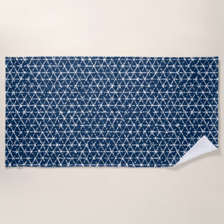Marine-Blau Shibori geometrischer Tessellation Strandtuch