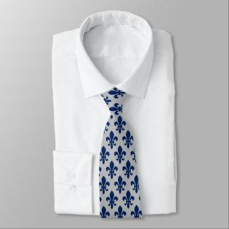 Marine-Blau-silbernes Grau-Lilien-Muster Krawatte