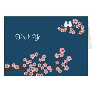 Marine-Blau u. rosa Kirschblüte danken Ihnen Karte