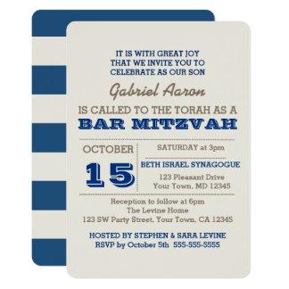 Marine-Blau u. Silber-Bar Mitzvah Einladung