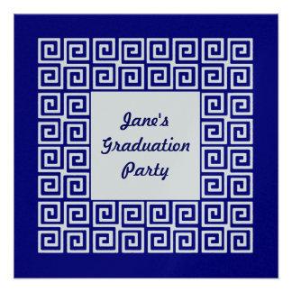 Marine-Blau u Silber-Schlüsselabsolvent-Party Personalisierte Einladungskarte