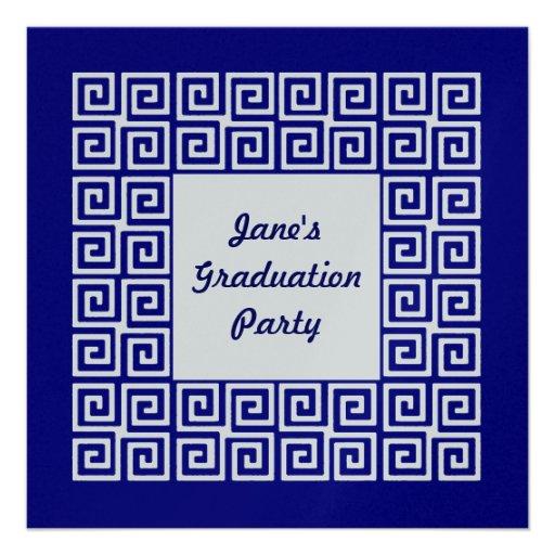 Marine-Blau u. Silber-Schlüsselabsolvent-Party Personalisierte Einladungskarte