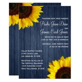 Marine-Blau u. Sonnenblume-Hochzeits-Einladung Karte