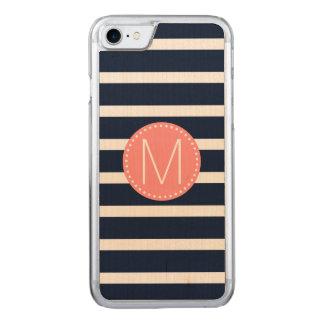 Marine-Blau-u. Weiß-Streifen mit korallenrotem Carved iPhone 8/7 Hülle
