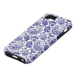 Marine-Blau-u. weißesVintages Blumenpaisley-Muster Tough iPhone 5 Hülle