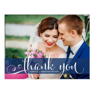 Marine-Blau-Überlagerungs-Skript-Hochzeits-Foto Postkarte