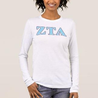 Marine-Blau-und Baby-Blau-Buchstaben ZetaTau Alpha Langarm T-Shirt