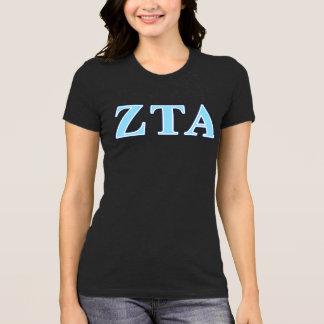 Marine-Blau-und Baby-Blau-Buchstaben ZetaTau Alpha T-Shirt