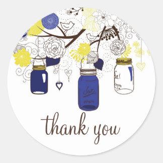 Marine-Blau-und Gelb-Weckgläser danken Ihnen Aufkl