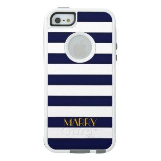 Marine-Blau und Goldklassiker-Streifen-Monogramm OtterBox iPhone 5/5s/SE Hülle
