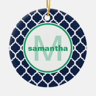 Marine-Blau und Grün Quatrefoil Monogramm Keramik Ornament