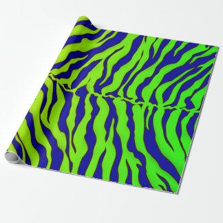 Marine-Blau und Limone Tiger-Streifen-Tierdruck Geschenkpapier