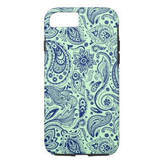 Marine-Blau und Minze-Grünes Blumenpaisley-Muster iPhone 8/7 Hülle