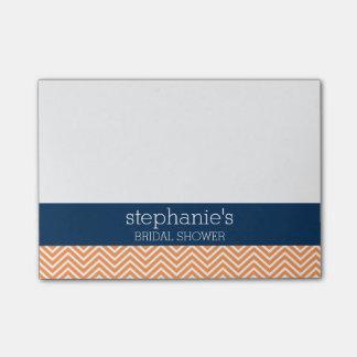 Marine-Blau und orange Zickzack Muster-Brautparty Post-it Klebezettel