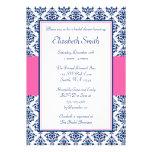 Marine-Blau und rosa Damast-Brautparty Individuelle Einladung