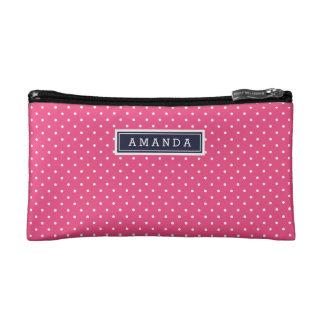 Marine-Blau und rosa kleines Punkt-Monogramm Kosmetiktasche
