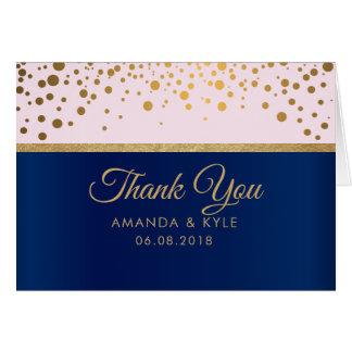 Marine-Blau und Rosa mit GoldConfetti - danke Karte