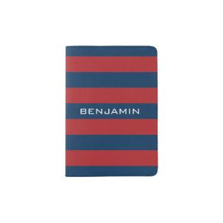 Marine-Blau-und Rot-Rugby-Streifen mit Passhülle