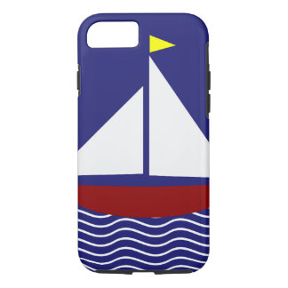 Marine-Blau-und Rot-Segelboot-Entwurf iPhone 7 Hülle