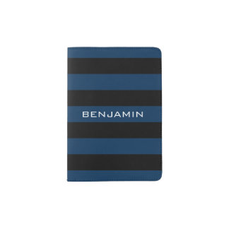 Marine-Blau-und Schwarz-Rugby-Streifen mit Passhülle