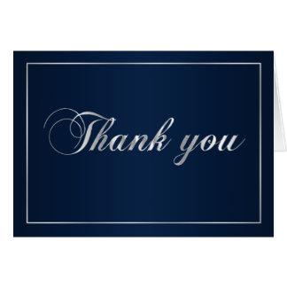 Marine-Blau und Silber danken Ihnen zu merken Grußkarten