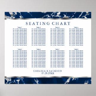 Marine-Blau und Silber-Marmor - setzendes Diagramm Poster