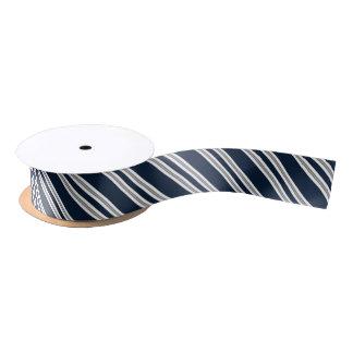 Marine-Blau und silberne diagonale Streifen Satinband