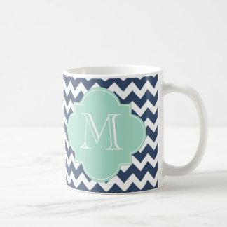 Marine-Blau und tadelloses grünes Zickzack Kaffeetasse