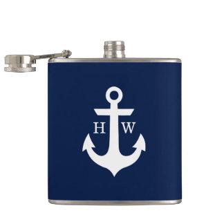 Marine-Blau-und Weiß-Anker-Monogramm