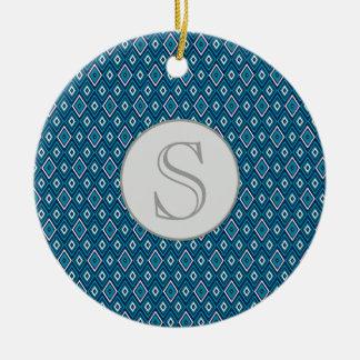 Marine-Blau-und Weiß-Diamant-Monogramm-Verzierung Keramik Ornament