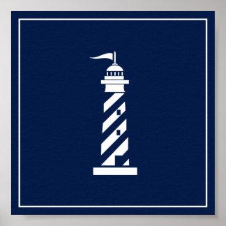Marine-Blau-und Weiß-Leuchtturm-Plakat Poster