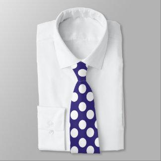 Marine-Blau-und Weiß-Polka-Punkt-Krawatte Personalisierte Krawatte