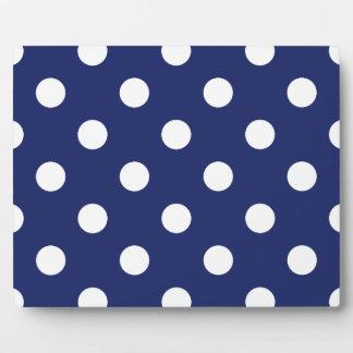 Marine-Blau-und Weiß-Tupfen-Muster Fotoplatte