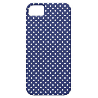 Marine-Blau-und Weiß-Tupfen-Muster iPhone 5 Etui