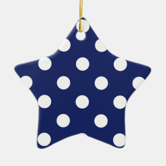 Marine-Blau-und Weiß-Tupfen-Muster Keramik Ornament
