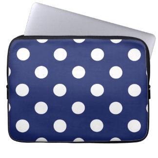 Marine-Blau-und Weiß-Tupfen-Muster Laptop Sleeve