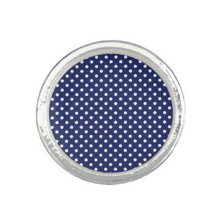 Marine-Blau-und Weiß-Tupfen-Muster Ring
