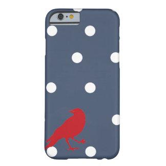 Marine-Blau-und Weiß-Tupfen-roter Barely There iPhone 6 Hülle