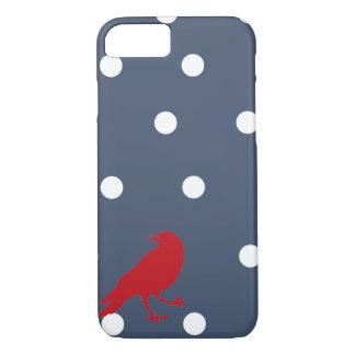 Marine-Blau-und Weiß-Tupfen-roter iPhone 8/7 Hülle