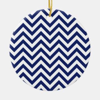 Marine-Blau-und Weiß-Zickzack-Streifen-Zickzack Keramik Ornament