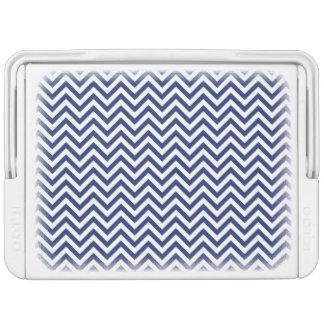 Marine-Blau-und Weiß-Zickzack-Streifen-Zickzack Kühlbox