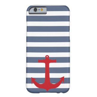 Marine-Blau-und weißergestreifter roter Barely There iPhone 6 Hülle