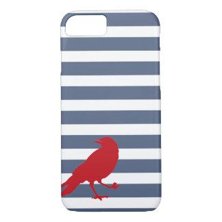 Marine-Blau-und weißergestreifter roter iPhone 8/7 Hülle