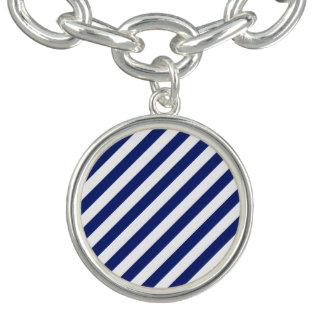 Marine-Blau-und weißesdiagonales Streifen-Muster Charm Armband