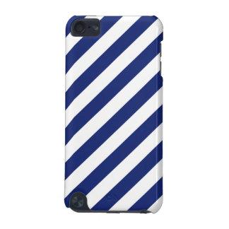 Marine-Blau-und weißesdiagonales Streifen-Muster iPod Touch 5G Hülle