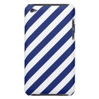 Marine-Blau-und weißesdiagonales Streifen-Muster iPod Touch Case-Mate Hülle