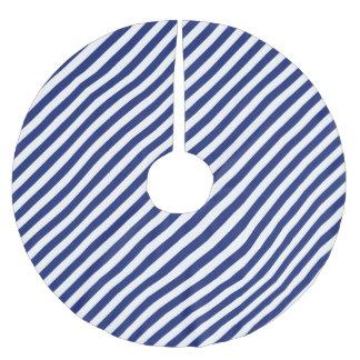 Marine-Blau-und weißesdiagonales Streifen-Muster Polyester Weihnachtsbaumdecke