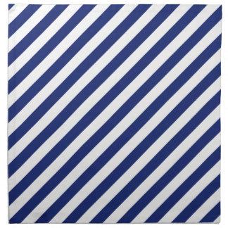 Marine-Blau-und weißesdiagonales Streifen-Muster Serviette